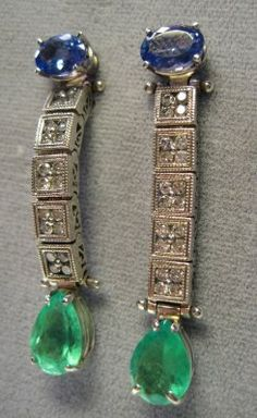 Emerald and Tanzanite Earrings