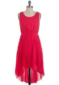 red sheer knee length high low dress