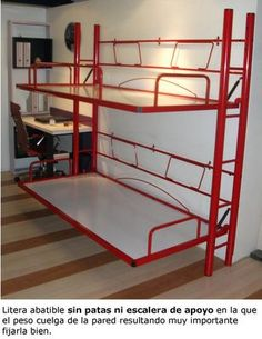 Litera abatible metálica. Murphy Bunk Beds, Safe Bunk Beds, Cabin Bunk Beds, Build A Murphy Bed, Murphy Bed Ikea, Kids Bunk Beds, Camper Bunk Beds, Beds For Small Rooms, Space Saving Beds