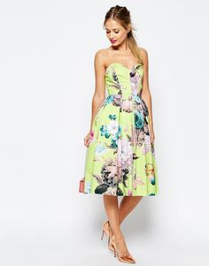 78f7dc131f88 ASOS SALON Lime Floral Bandeau Midi Prom Dress at asos.com