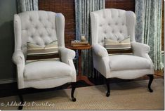 Before & After:: Wingback Chairs. I have a few chairs I would like to recover, not sure if I am ready to tackle it yet....