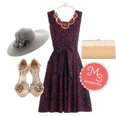 In this outfit: Guest of Honor Dress in Vines, Instantly Impressive Necklace, Flint Julep Hat, Romantic Reunion Clutch, Take a Dance on Me Heel #sunhat #pocketdress #clutch