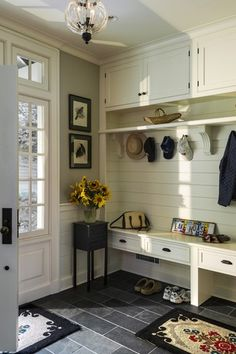 """Traditional Entryway with soapstone tile floors, 6"""" x 12"""" Black Slate Tile, specialty door, Transom window, Chandelier"""