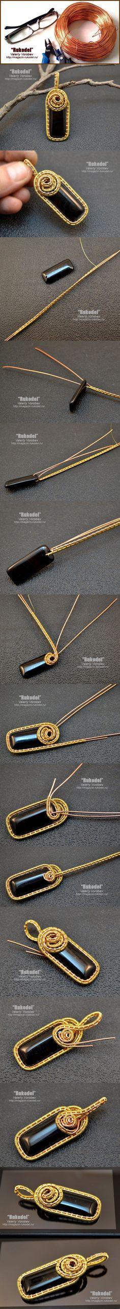 Tutorial DIY Wire Jewelry  Image    Description  Кулон из золотой и медной проволоки своими руками. | Рукодел