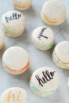 "Typography Macarons...so cute and the ingredient list is short, though they're famously hard to make ""right"""