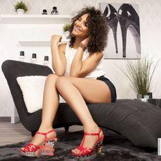wedge sandals red woman elasthomère heels 11 cm size 39, on line shop Modatoi. buy shoes on website modatoi.co.uk.