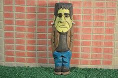 "Halloween Frankenstein FRANKIE woodcarving hand carved and hand painted by MADellinger Wood Carving BHH # 7 of the  ""Everyday People Series"""
