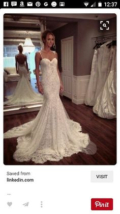 Sweet heart fitted lace wedding dress with mermaid bottom and train stunning!