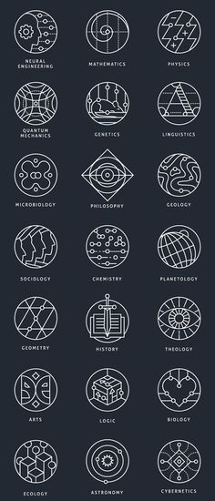 Collection of conceptual marks, representing different scientific…