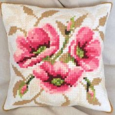 Wild Roses cross-stitch cushion