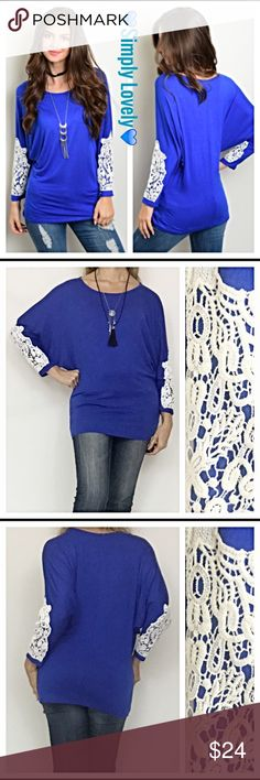 """Lovely Royal Blue Crochet Sleeve Top SML marled Simply lovely royal blue jersey knit top featuring gorgeous crochet lace design on long batwing like sleeves. Flattering, feminine cut. Butter soft 95% rayon/5% spandex. New from maker without tags  Marled Small 34-36"""" Bust - 26"""" Length  Medium  36-38"""" Bust -27"""" Length  Large 38-40"""" Bust - 28"""" Length Tops Tees - Long Sleeve"""