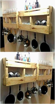 Fresh Ideas for Shipping Pallets Recycling Pallet Shelves Projects recycled wood pallet kitchen shelf - It is not always possible to decorate a home differently because most of the individuals go for the items that are available in the furniture. Kitchen Cabinet Remodel, Kitchen Shelves, Diy Kitchen, Kitchen Design, Kitchen Decor, Wooden Pallet Furniture, Wood Pallets, 1001 Pallets, Kitchen Furniture