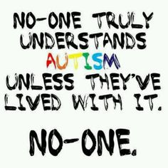 No one truly understands Autism unless they've lived with it. No-one.