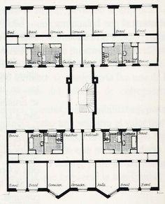 Secundino Zuazo | Casa de las Flores | Madrid, España | 1932 | Planta tipo vivienda