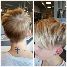Shaved Short Hairstyle for Fine Hair - Layered Pixie Haircut with Side Bangs