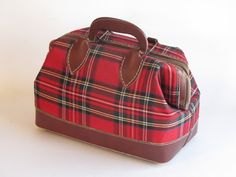 Vintage Red PlaidTote / Doctor Bag / Purse by HeartlandVintageShop, $29.99