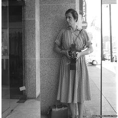 Vivian Maier with a Rolleiflex camera