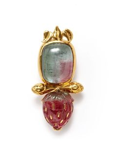 Elizabeth Gage Gold & Tourmaline Strawberry Brooch by Portero Luxury on Gilt.com