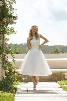 Mori Lee - Voyage    TAGS:Embroidered, Short sleeves, High neck, White, Mori Lee, Modern, Romantic