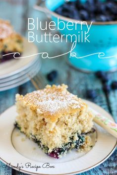 This Blueberry Buttermilk Cake is as beautiful as it is delicious! #recipes #cake #blueberry