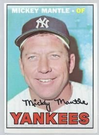 "NY YANKEES MICKEY MANTLE 1967 TOPPS #150 BASEBALL CARD. My fovorite base ball player. I saw him play in a baseball game.  ""✮✮Feel free to share on Pinterest"" ♥ღ www.morebaseballcards.com"