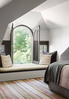Attic bedroom remodel ideas starts with insulation, natural light, windows, smart storage and clever lighting. Great ideas for your attic bedroom decorating Window Shutters Exterior, Interior Shutters, Interior Windows, Indoor Shutters For Windows, Bedroom Shutters, Exterior Paint, Exterior Design, Arched Window Treatments, Arched Windows
