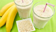 Banana smoothie with oatmeal Lunch Smoothie, Healthy Breakfast Smoothies, Oatmeal Smoothies, Smoothie Drinks, Healthy Drinks, Smoothie Recipes, Healthy Snacks, Smoothies Banane, Snacks Sains