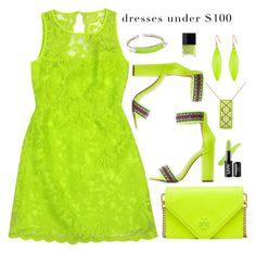"""""""Dresses Under $100: Neon Green Monochrome"""" by majezy ❤ liked on Polyvore featuring Laundry, Charlotte Russe, Alexis Bittar, Tory Burch and Butter London"""