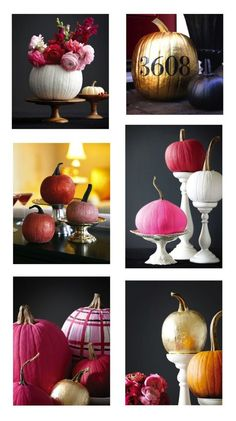 6 DIY Fall Pumpkin Wedding Centerpieces Decor, love the colors, but would like a more PLUM color, not hot pink.