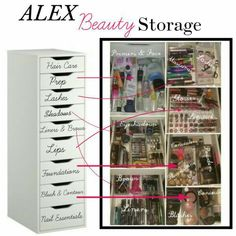ikea alex drawer makeup storage drawer beauty storage and organization by on ikea alex 5 drawer makeup storage Rangement Makeup, Ikea Alex Drawers, Make Up Storage, Storage Ideas, Drawer Ideas, Craft Storage, Diy Vanity, Vanity Ideas, Mirror Vanity