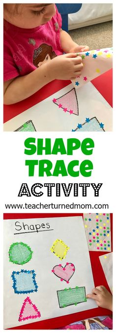 Help teach your child about shape attributes with this quick and easy shape trace activity! It also helps with fine motor skills and color recognition.