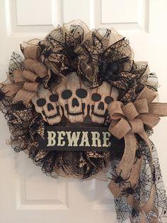 Halloween Wreath, Skeleton Wreath, Skull Wreath, Burlap Wreath, Fall Wreath,  Halloween  Door Wreath, Halloween Skull Wreath by RoesWreaths on Etsy https://www.etsy.com/listing/481023459/halloween-wreath-skeleton-wreath-skull