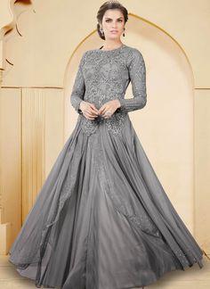 #Grey Net  #Indowestern #Gown With Resham Work