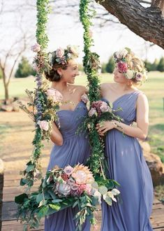 boho bridesmaid hairstyles with flower crown