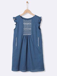 Robe longue fille brodée - Bleu - 4