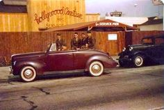 Here is a rare color photo of four soldiers out front of Hollywood Canteen on…