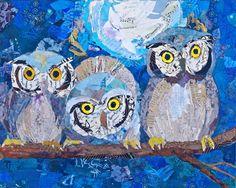 """Owls Night in Branch"" par Elizabeth St Hilaire Nelson"