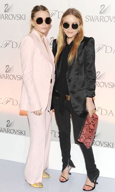 Olsens Anonymous Blog Mary Kate Ashley Olsen Round Sunglasses Pink And Black Satin Suit Looks CFDA Drop Earrings Tie Neck Blouse Chiffon Gol...