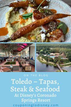 Toledo - Tapas, Steak & Seafood At Disney's Coronado Springs Resort Disney World Restaurants, Walt Disney World Vacations, Disney Resorts, Rooftop Dining, Coronado Springs, Steak And Seafood, Disney Dining Plan, Seafood Restaurant, Kids Meals