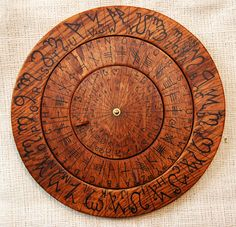 Cypher Wheel Cipher Disk Wood with Theban, Ogham, Enochian, & Celtic Rune Scripts in Black Ink, for your Secret Codes. Wiccan, Magick, Pagan, Witchcraft, Cipher Wheel, Celtic Runes, Hand Craft Work, Geometric Symbols, Anglo Saxon