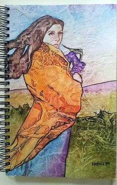 NOTEBOOK Journal Diary SPRING IRISES Art 80 Pgs.Spiral Bound Lynne French