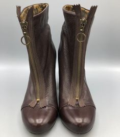 6d276ef1d470ca Fly London Fly Girl Ankle Boot Zip Front Brown Leather High Heel Size 37EU  6.5US
