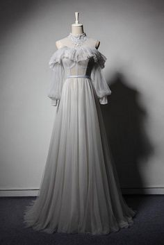 Gray Formal Dress, Formal Dresses With Sleeves, Gray Gown, Formal Prom, Senior Prom Dresses, Tulle Prom Dress, Tulle Lace, Wedding Dresses, Retro Prom Dress