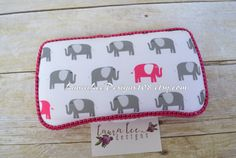 READY TO SHIP Elephants in Gray and Hot Pink by LauraLeeDesigns108
