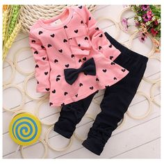 >> Click to Buy << The girl's clothes 2016 spring and autumn children set 1-4 year old cute girl / two piece style / Set Butterfly Knot fashion clo #Affiliate