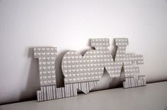 Wooden love-home decor -grey hearts and stripes  I used wooden love letters with decoupage technique. Its perfect for home decor , and it gives a