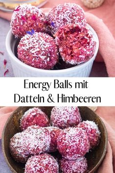 Energy Balls mit Datteln und Himbeeren Is snacking healthy? These energy balls with dates and raspberries are not only delicious, they are also filling and a great snack to go. The recipe is very easy and quick to make with just 6 ingredients! Healthy Desserts, Dessert Recipes, Healthy Recipes, Raspberry Recipes Healthy, Dessert Dips, Recipes Dinner, Pasta Recipes, Healthy Foods, Crockpot Recipes