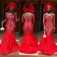 Red Combinations : Aso Ebi Styles - http://www.dezangozone.com/2016/02/red-combinations-aso-ebi-styles.html DeZango Fashion Zone