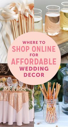 Where to find Cheap Wedding Decorations - shop for best websites for affordable wedding decor Are you a bride on a budget looking for cheap wedding decorations? Check out this list of Top Online Resources for Cheap Wedding Decor! Wedding Tips, Wedding Favors, Our Wedding, Destination Wedding, Dream Wedding, Perfect Wedding, Wedding Invitations, Luxury Wedding, Wedding Reception