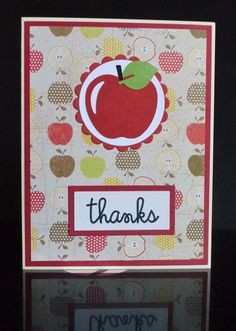 Handmade Thank You Card for Teachers with Apple Theme-Handmade School Thanks Greeting Card You Note-Handemade Red Apple Card by TreasureIslandCards on Etsy
